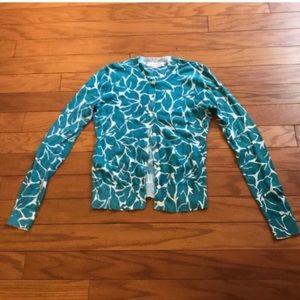 LOFT Aqua Floral Cardigan